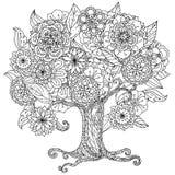 Preto e branco floral de oriente do círculo Fotografia de Stock Royalty Free