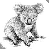 Preto e branco grave a ilustração isolada do vetor da coala ilustração do vetor