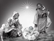 Preto e branco religioso da cena do Natal da natividade Imagens de Stock Royalty Free