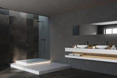 Preto e canto moderno telhado do banheiro Imagens de Stock