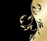 Preto e cartão floral do ouro Foto de Stock Royalty Free