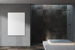 Preto e cartaz moderno telhado do interior do banheiro Fotografia de Stock