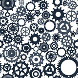 Preto e cinza mecânicos da engrenagem Imagens de Stock