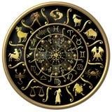 Preto e disco do zodíaco do ouro ilustração stock
