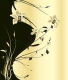 Preto e flores do ouro Fotos de Stock Royalty Free
