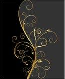 Preto e fundo floral do ouro Imagens de Stock