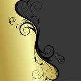 Preto e fundo floral do ouro Imagens de Stock Royalty Free