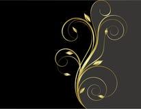 Preto e fundo floral do ouro Fotos de Stock Royalty Free