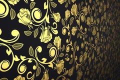 Preto e opinião de perspectiva do papel de parede do ouro ilustração stock