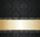 Preto e papel de parede do vintage do ouro ilustração stock