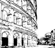 Preto em Digitas brancas Art Sketch do Colosseum em Roma Itália ilustração stock