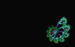 Preto espiral azul verde do fractal ilustração royalty free