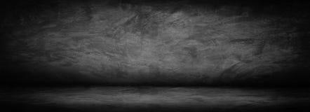 Preto horizontal, parede abstrata escura e cinzenta e estúdio do cimento fotografia de stock