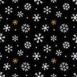 Preto, ouro e White Christmas, fundo sem emenda do teste padrão do inverno Fotografia de Stock Royalty Free