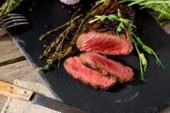 Preto raro desbastado angus do bife do BBQ Imagens de Stock Royalty Free