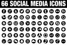 Preto social de 66 ícones dos meios do círculo Imagens de Stock