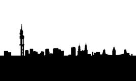 Pretoria city skyline vector isolated. Vectored illustration of the urban area of south africa capital of pretoria with most famous landmarks blank background stock illustration