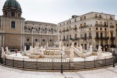 Pretoria Fountain, Palermo. Fountain Pretoria, Palermo - detail of a statue Royalty Free Stock Images