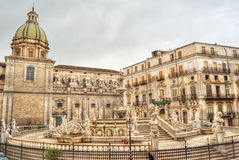 Pretoria fountain in Palermo Royalty Free Stock Photography