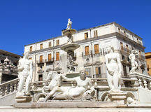 Pretoria Fountain in Palermo, Italy Stock Images