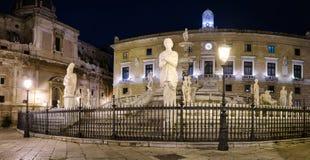 Pretoria Fountain, Palermo. Pretoria Fountain at night, Palermo Royalty Free Stock Photos