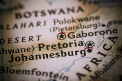 Pretoria on map. Closeup of Pretoria, South Africa on a world map Royalty Free Stock Image