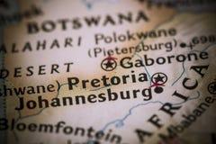 Pretoria no mapa imagem de stock royalty free