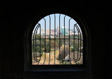 Pretoria, South Africa, through burglar bars. Stock Photo