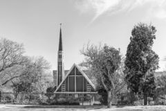 Dutch Reformed Church Lyttelton-East in Centurion. Monochrome. PRETORIA, SOUTH AFRICA, JULY 31, 2018: The Dutch Reformed Church Lyttelton-East in Centurion in royalty free stock images