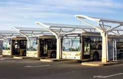Gautrain busses at depot. Pretoria, South Africa - March 6, 2018: Public busses waiting in depot Stock Photos