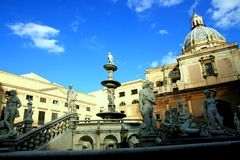 Pretoria square fountain & church. Palermo, Sicily Royalty Free Stock Photography