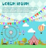 Pretpark, ferriswiel, festival, Carnaval, ballon Tent op de markt landbouwproducten, limonade, citroenen in houten doos royalty-vrije illustratie