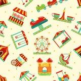 Pretpark met carrousel, circus en andere aantrekkelijkheden Vector naadloos patroon Royalty-vrije Stock Foto