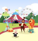 Pretpark met circuskunstenaars en markttent, het wiel van de ferrisobservatie en groene bomen op achtergrond beeldverhaal stock illustratie
