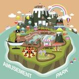 Pretpark in vlak ontwerp royalty-vrije illustratie