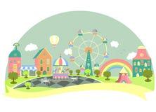 Pretpark in vlakke stijl Royalty-vrije Stock Afbeeldingen