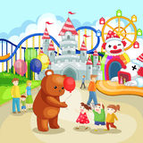 Pretpark voor kinderen in de zomervakantie (vec Stock Foto