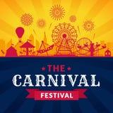 Pretparkaffiche Achtbaan, ferriswiel en Carnaval-de aantrekkelijkheden vectorsilhouet van carrousel feestelijk parken vector illustratie