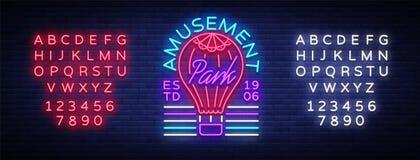 Pretparkembleem in neonstijl Ontwerpmalplaatje met een ballon Neonteken, lichte banner, ontwerpelement, heldere nacht stock illustratie