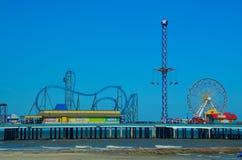 Pretparkpijler in Galveston, Texas, de V.S. stock foto