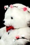 Pretstuk speelgoed teddybeer zwarte achtergrond Aanwezig kind Royalty-vrije Stock Fotografie