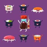 Pretsushi en sashimi Japans Voedsel met leuk Stock Afbeeldingen