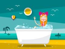 Prett Woman in Bathtub on Sand Beach with Ocean Landscape. Vector Design royalty free illustration