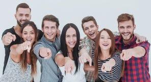 Pretteam van jongeren die op u richten stock foto