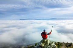 prettige mening van de top van de berg Stock Afbeelding