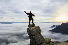 prettige mening van de top van de berg Royalty-vrije Stock Afbeelding