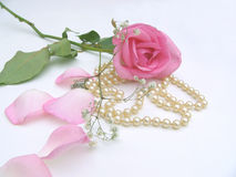 Pretty #2. Rose with babys breath and pearls Stock Photo