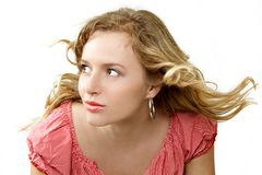 So pretty. Beautiful girl with blown hair separate on white Royalty Free Stock Photo