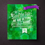 Pretty abstract green Save The Date template Royalty Free Stock Photo