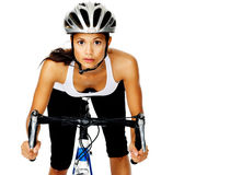 Pretty active cyclist Royalty Free Stock Image